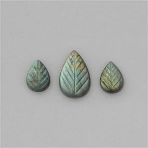 35cts Grade AA Labradorite Leaf Shaped Cabochons Approx 18x13 to 29x18mm (3 Pieces).