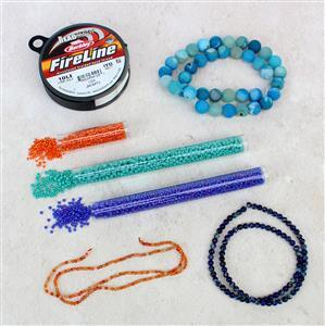 Joyful; Carnelian 2mm, Druzy Agate 10mm, Blue Terra Jasper 4mm & Seed beads 8/0 & 11/0