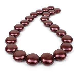 Dark Red Shell Pearl Coins Approx 18mm, 38cm strand