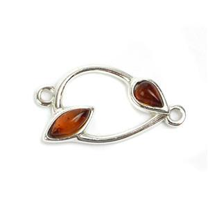 Baltic Cognac Amber Sterling Silver Teardrop Connector Approx 20mm