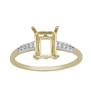 9k Yellow Gold Octagon Radiant Cut Ring Mount (To fit 8x6mm gemstone) with White Zircon Brilliant Round Approx 1.20mm- 1Pcs