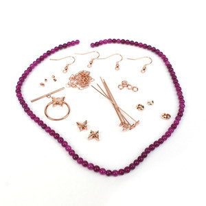 Violet Flash; Rose Gold Plated Base Metal Butterfly Findings & Deep Purple Quartzite 4mm