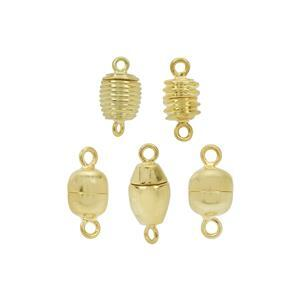 Gold Plated Base Metal Magnetic Clasps - 5 Designs