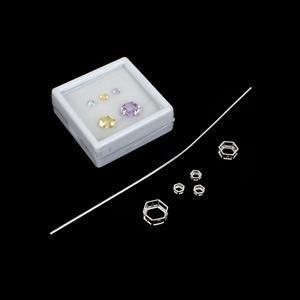 Viola; 925 S/S Hexagon Setting 10, 8, 3x4mm, Wire 1.5mm, Rose De France Amethyst, Citrine, Sky Blue Topaz