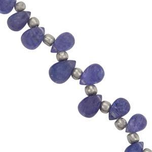 20cts Tanzanite Side Drill Smooth Drops Approx 4.5x3 to 8.5x5.80mm, 14cm Strand with Spacers