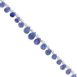 22cts Tanzanite Side Drill Graduated Smooth Drops Approx 3.75x2 to 9x5mm, 16cm Strand With Spacers