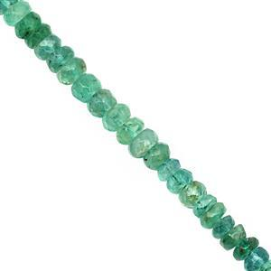 15cts Emerald Faceted Rondelle Approx 3x1 to 4x2.5mm, 20cm Strand