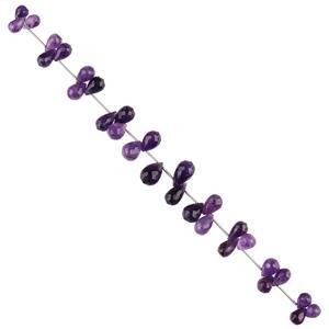 94cts Zambian Amethyst Graduated Faceted Drops Approx 7x3 to 13x7mm, 18cm Strand.