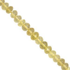 65cts Lemon Quartz Faceted Rondelle Approx 6x3 to 8x6mm, 16cm Strand