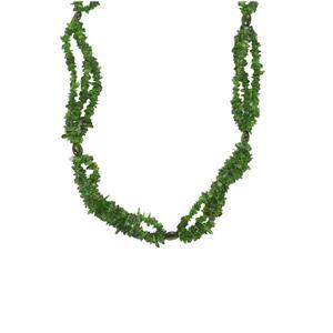 180ct Chrome Diopside Sterling Silver 3 line Fancy Nugget Bead Necklace