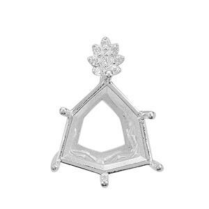 Rudi Wobito Alpine Cut 925 Sterling Silver Pendant Mount With White Zircon Pave Flower Detail (To Fit 12mm Alpine Cut Stone)