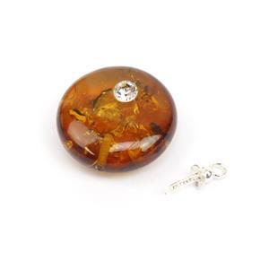 Baltic Cognac CZ Inset Amber Round Pendant with Sterling Silver Peg, Approx. 15mm