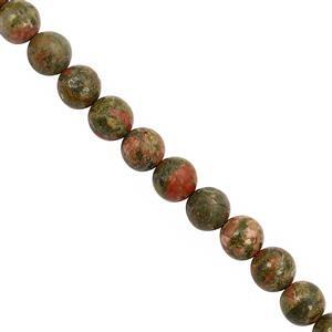 240cts Unakite Smooth Round Approx 10mm, 30cm Strand