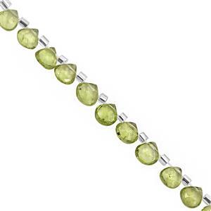 20cts Peridot Top Side Drill Faceted Heart Approx 4 to 5mm, 20cm Strand with Spacers