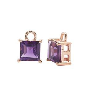 Rose Gold Plated 925 Sterling Silver Square Charm With 1.50cts Amethyst Approx 5mm (2pcs)