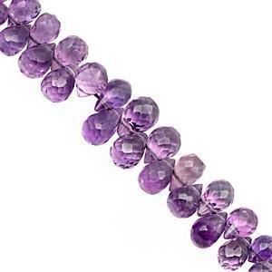 32cts Uruguayan Amethyst Top Side Drill Graduated Faceted Drop Approx 4.5x2.5 to 7.5x5mm, 15cm Strand.