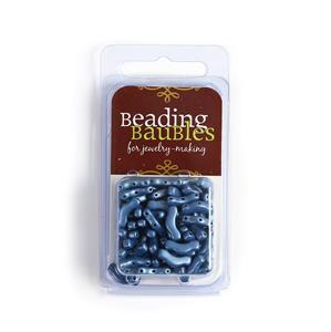 Bridge Beads - Jet Suede Blue, Approx 3x12mm (20GM)
