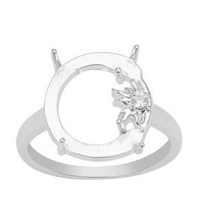 Glen Lehrer 925 Sterling Silver Man In The Moon Ring Mount With Star White Zircon (To Fit 15x12mm Gemstone)