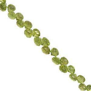 50cts Peridot Top Side Drill Faceted Onion Approx 3.5x4 to 6x5.5mm, 20cm Strand