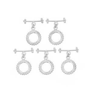 Silver Plated Base Metal Beaded Toggle Clasp, Approx. 25x19mm (5pk)