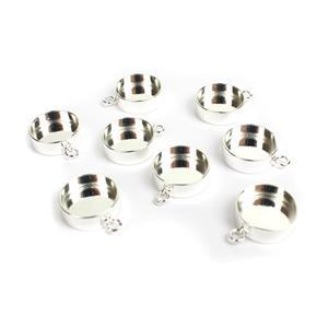 Silver Plated Base Metal Pendant Round Bezels, Approx 19x15mm (8pk)