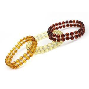 Lucky Dip! Amber Sterling Silver Bracelet - Lemon, Cherry or Cognac