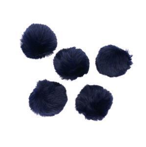 Navy Faux Fur Pom Poms, Approx 8cm (5pcs/pack)