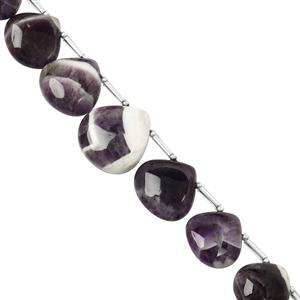 95cts Chevron Amethyst Graduated Top Drill Plain Pear Approx 14 to 18mm, 8cm Strand with Spacers