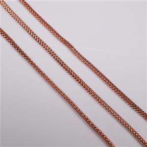 Rose Gold Plated Base Metal Snake Chain Bracelet, 16cm (3pk)