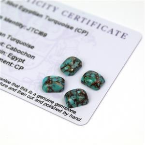 7.5cts Egyptian Turquoise 9x7mm Octagon Pack of 4 (CP)