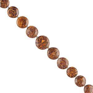 80cts Mariam Jasper Graduated Puffy Coins Approx 10 to 14mm, 18cm Strand.