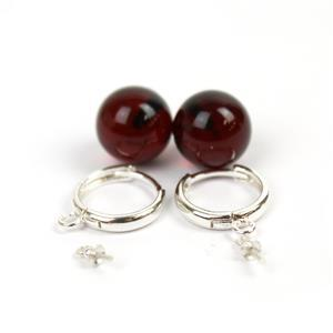 Sterling Silver Hoop Earrings (25mm) With Baltic Cherry Amber Rounds (12mm) - 1 Pair