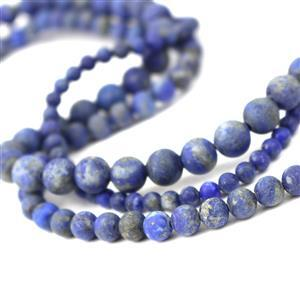 390cts Lapis Lazuli Frosted Rounds Approx 4, 6, 8mm, 15