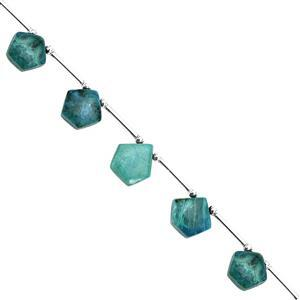 55cts Chrysocolla Corner Drill Graduated Smooth Pentagon Approx 10x9 to 14x13mm, 18cm Strand with Spacers