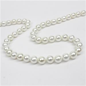 White Shine Shell Pearls Rounds Approx 8mm, 38cm strand