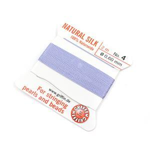 Silk Thread, Size 04 (.6 mm, .024 in) - Lilac, with needle, 2 m (6.5 ft)