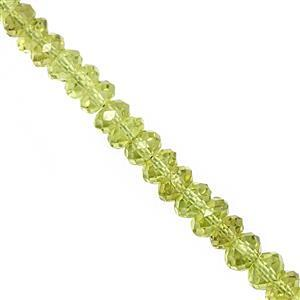 22cts Peridot Graduated Faceted Rondelle Approx 3.5x2 to 5x3mm, 10cm Strand
