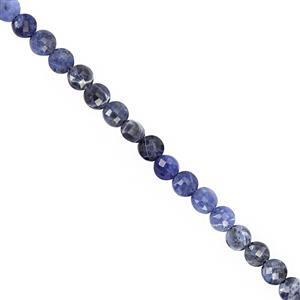 25cts Sodalite Faceted Coin Approx 4.50mm, 30cm Strand