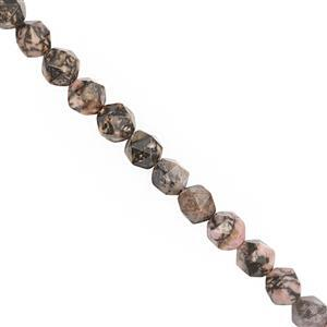 120cts Rhodonite Faceted Star Cut Approx 7 to 7.5mm, 28cm Strand
