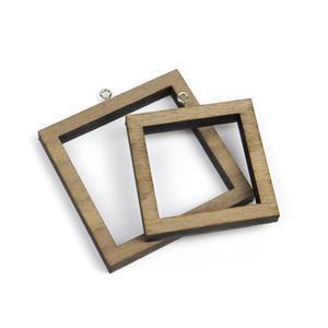 Square Wooden Pendant Bezels, 2pk