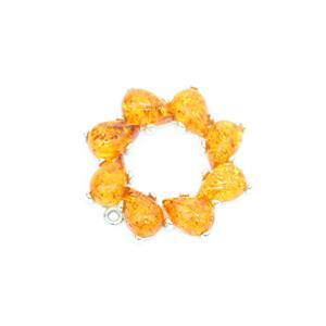 Baltic Cognac Amber Circle Wreath Pendant Approx 30mm Sterling Silver