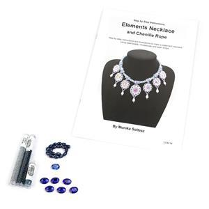 Water Kit; Seedbeads, Oval Rhinestones & Shell Pearl Drops with Booklet by Monika Soltesz