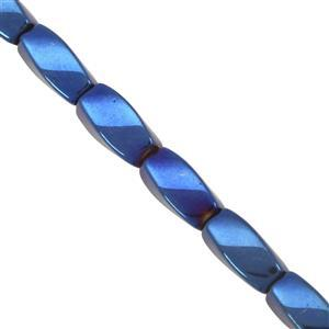 185cts Blue Twister Coated Haematite Smooth Fancy Approx 11x5 to 11.5x5mm, 40cm Strand