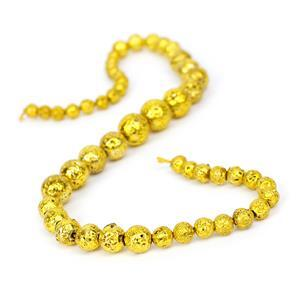 160cts Dark Yellow Lava Rock Graduated Plain Rounds Approx 6 to12mm, 38cm Strand