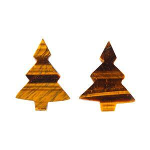 110cts Tiger Eye Plain Christmas Tree Shape Gemstones. Approx 32x40mm(Pack of 2)