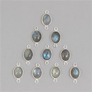 925 Sterling Silver Bezel Connectors Approx 16x8mm Inc. 20cts Labradorite Oval Approx 9x7mm (10pcs)