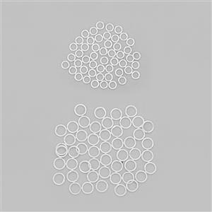 925 Sterling Silver Closed Jump Ring Bundle Pack of 100, (50pcs- ID 3.8mm, OD 5mm), (50pcs - ID 5mm, OD 7mm)