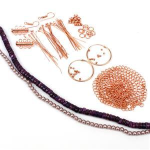 On The Mauve;  Lepidolite Heshi Beads, Mauve Shine Shell Pearl Plain Rounds & Rose Gold Plated Findings