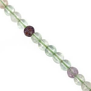 35cts Multi-Colour Fluorite Faceted Puffy Coin Approx 4mm, 30cm Strand
