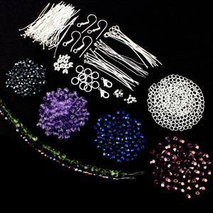 Sparkly Little Number; Fire Polished Beads inc 3mm, 4mm & 6mm, Headpins & Findings 75pcs